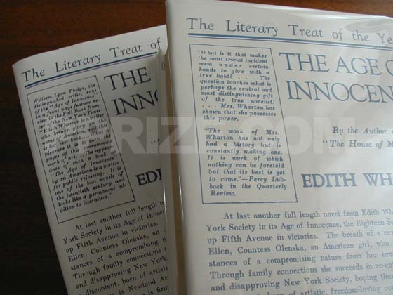 One Age of Innocence dust jacket state features quotes about the author from Percy