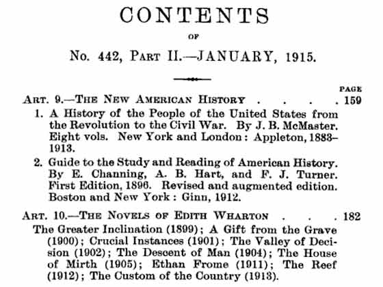 This is the contents page from the January 1915 issue of Quarterly Review. The four Percy