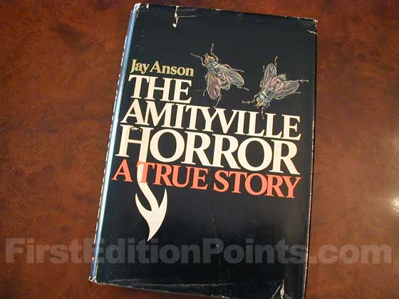 Picture of the 1977 first edition dust jacket for The Amityville Horror.