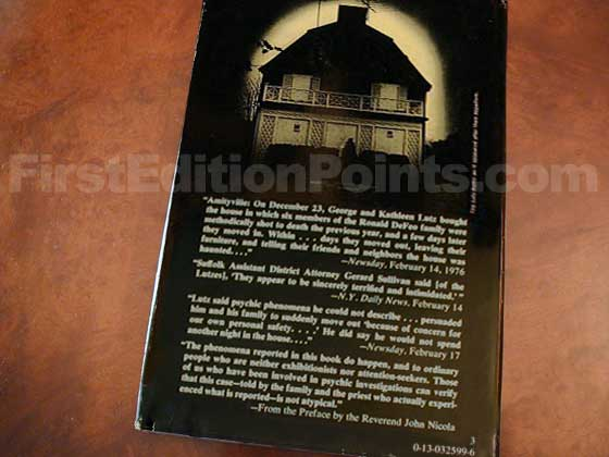 Picture of the back dust jacket for the first edition of The Amityville Horror.