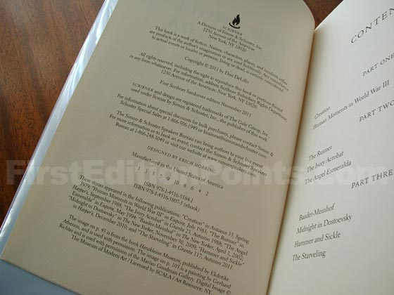 Picture of the first edition copyright page for The Angel Esmeralda.