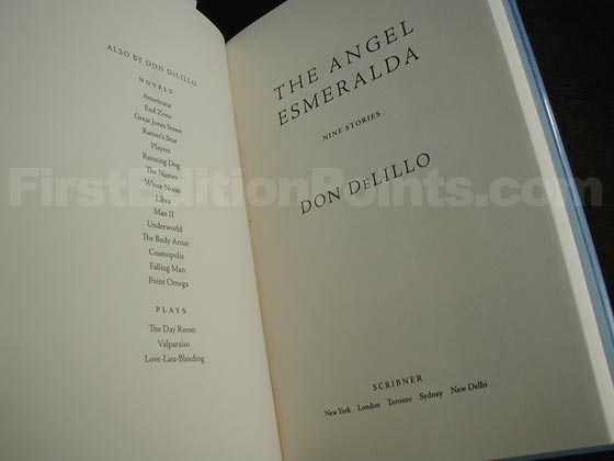 Picture of the first edition title page for The Angel Esmeralda.