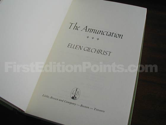 Picture of the first edition title page for The Annunciation.