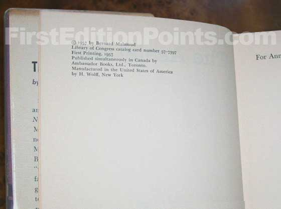 Picture of the first edition copyright page for The Assistant.
