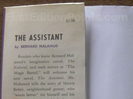 Picture of dust jacket where original $3.50 price is found for The Assistant.