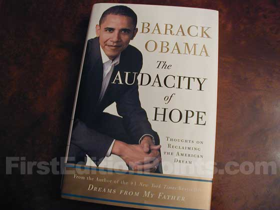 Picture of the 2006 first edition dust jacket for The Audacity of Hope.