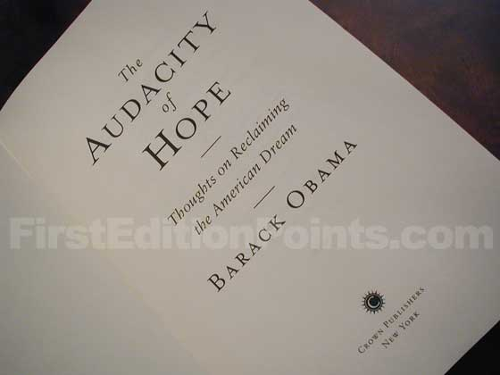 Picture of the first edition title page for The Audacity of Hope.