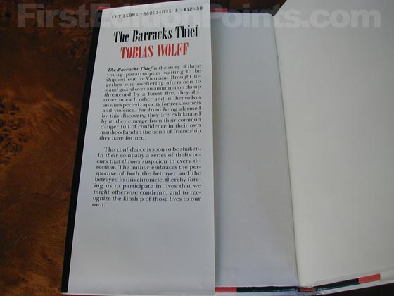 Picture of dust jacket where original $12.50 price is found for The Barracks Thief.