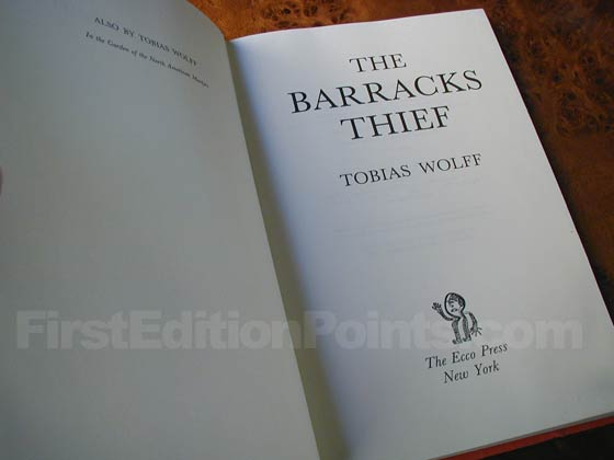 Picture of the first edition title page for The Barracks Thief.