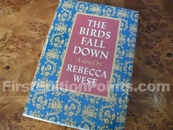Picture of the 1966 first edition dust jacket for The Birds Fall Down.