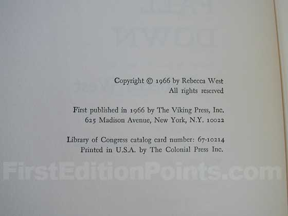 Picture of the first edition copyright page for The Birds Fall Down.