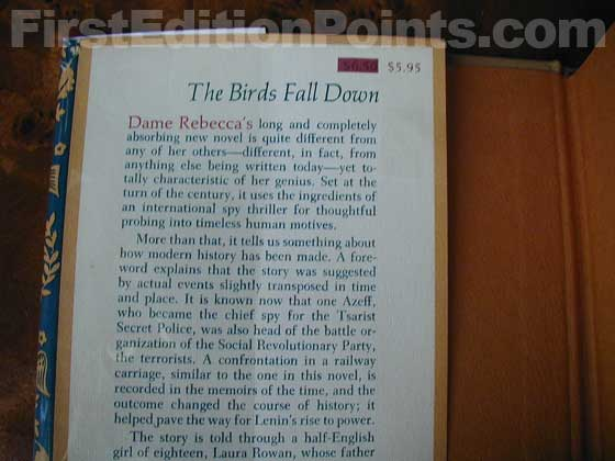 Picture of dust jacket where original $5.95 price is found for The Birds Fall Down.
