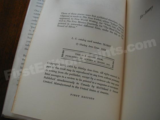 Picture of the first edition copyright page for The Black Prince.