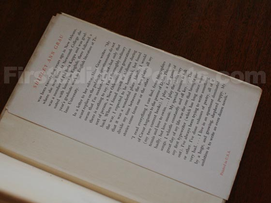Picture of the back dust jacket flap for the first edition of The Black Prince.