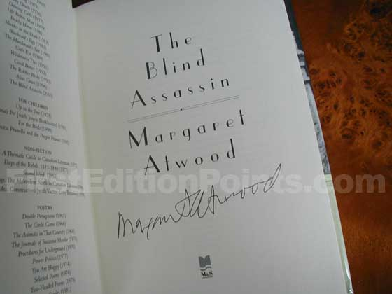 This title page from the first edition of The Blind Assassin is signed by Margaret