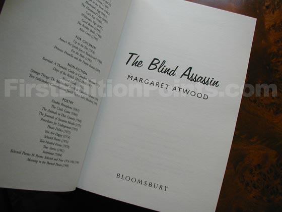 This is the title page from the first UK edition of The Blind Assassin.