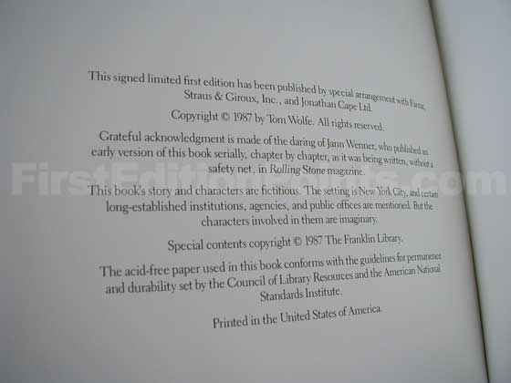 This is the copyright page from the Franklin Library first edition.