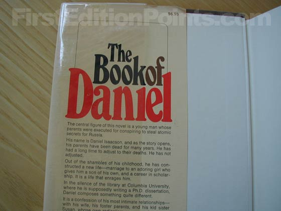 Picture of dust jacket where original $6.95 price is found for The Book of Daniel.
