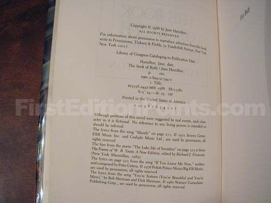 Picture of the first edition copyright page for The Book of Ruth.