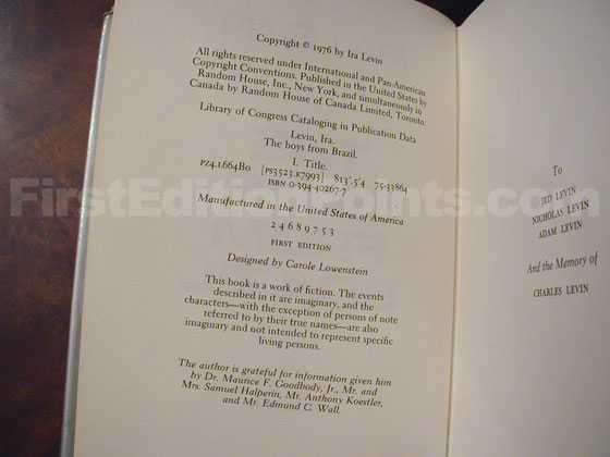 Picture of the first edition copyright page for The Boys from Brazil.