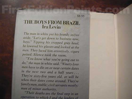 Picture of dust jacket where original $8.95 price is found for The Boys from Brazil.