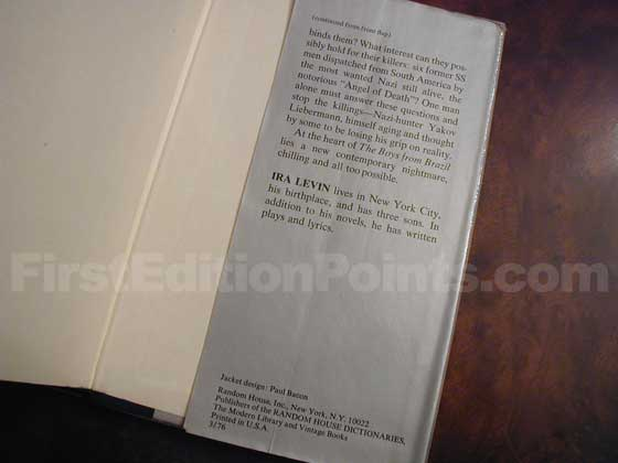Picture of the back dust jacket flap for the first edition of The Boys from Brazil.