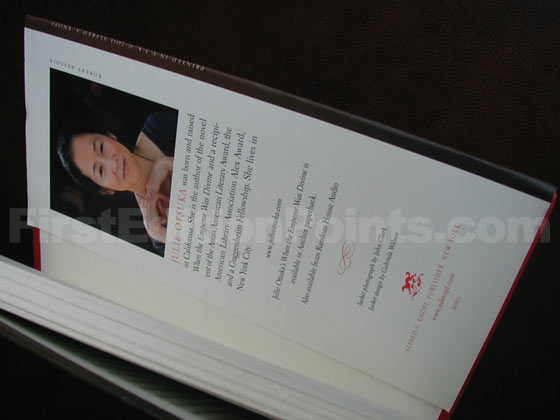 Picture of the back dust jacket flap for the first edition of The Buddha in the Attic.