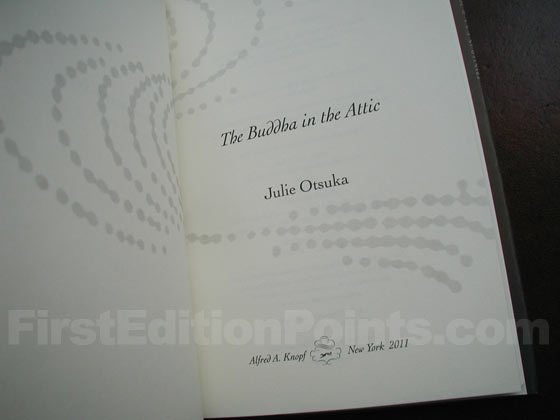 Picture of the first edition title page for The Buddha in the Attic.
