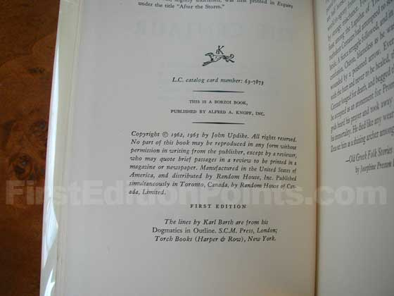 Picture of the first edition copyright page for The Centaur.