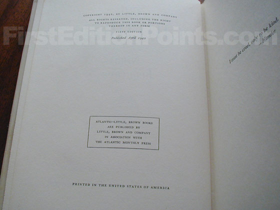 Picture of the first edition copyright page for The Children.
