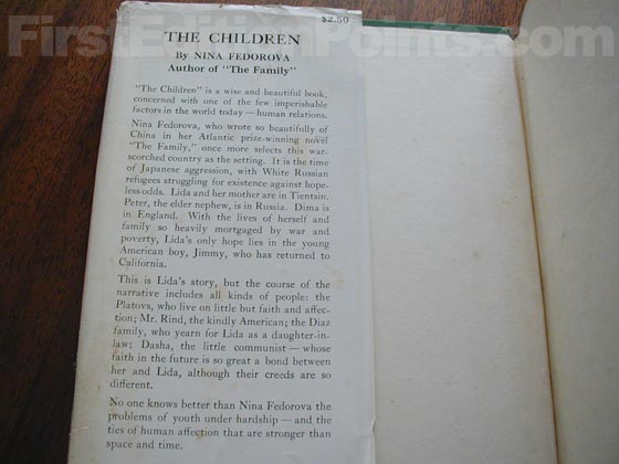 Picture of dust jacket where original $2.50 price is found for The Children.