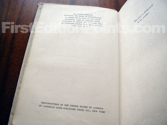Picture of the first edition copyright page for The City Boy.