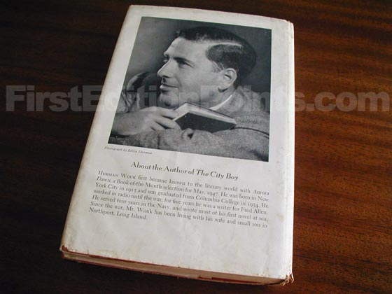 Picture of the back dust jacket for the first edition of The City Boy.