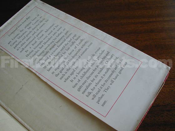Picture of the back dust jacket flap for the first edition of The City Boy.