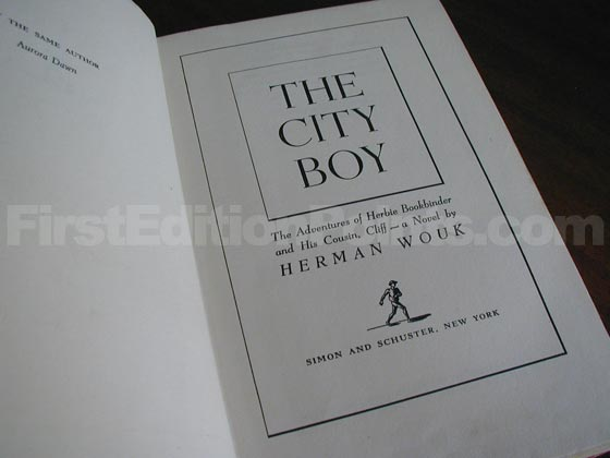 Picture of the first edition title page for The City Boy.