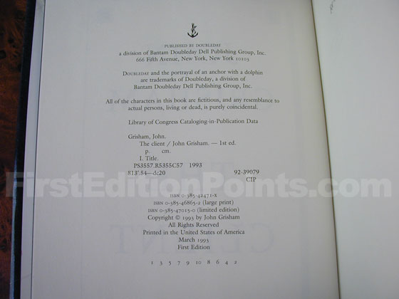 Picture of the first edition copyright page for The Client.