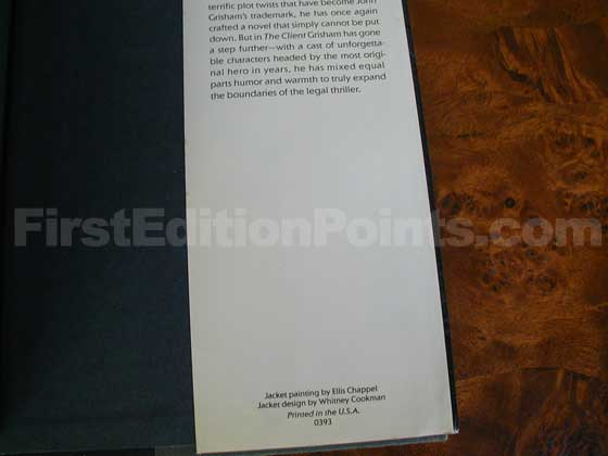 Picture of the back dust jacket flap for the first edition of The Client.