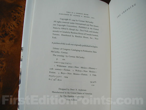 Picture of the first edition copyright page for The Crossing.