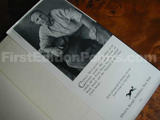 Picture of the back dust jacket flap for the first edition of The Crossing.