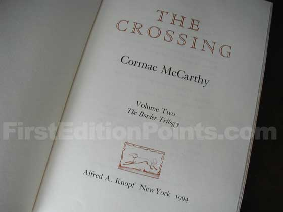 Picture of the first edition title page for The Crossing.