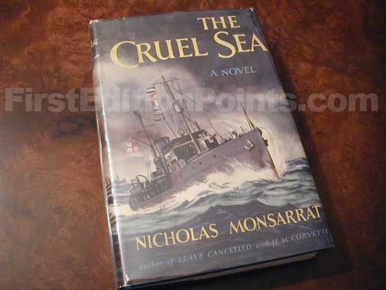 Picture of the 1951 first edition dust jacket for The Cruel Sea.