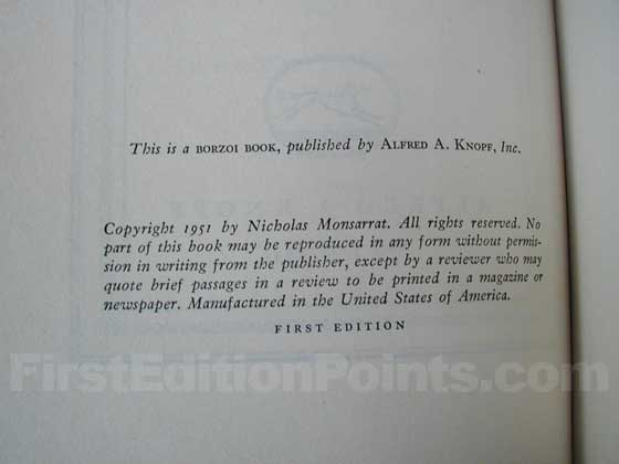 Picture of the first edition copyright page for The Cruel Sea.