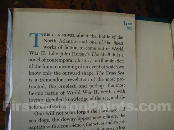 Picture of dust jacket where original $4.00 price is found for The Cruel Sea.