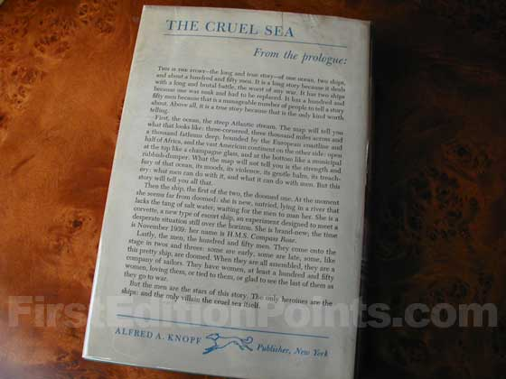 Picture of the back dust jacket for the first edition of The Cruel Sea.