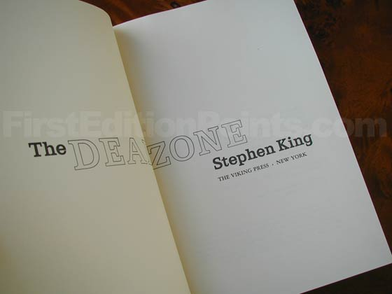 Picture of the first edition title page for The Dead Zone.