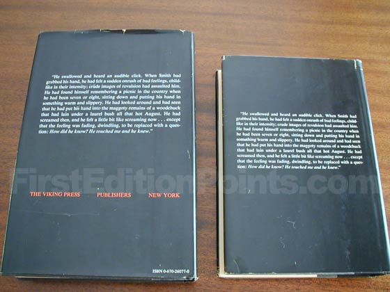 The true first edition dust jacket (left) has publisher information on the bottom and the