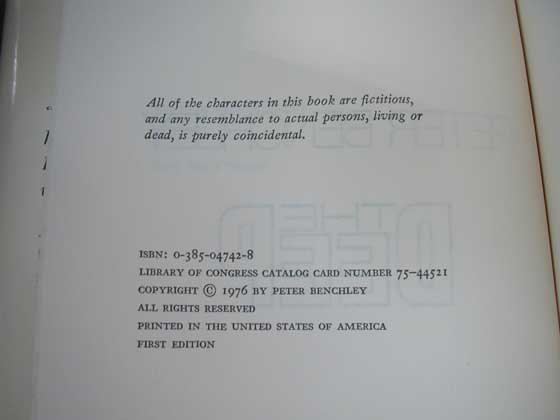 Picture of the first edition copyright page for The Deep.