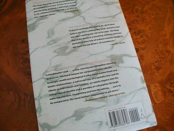 Picture of the back dust jacket for the first edition of The Deep End of the Ocean.
