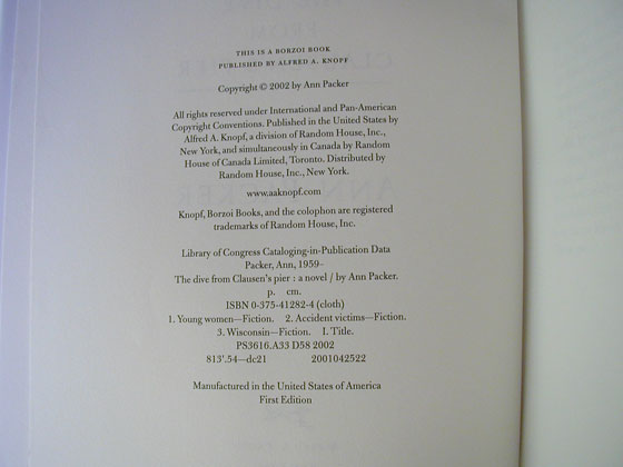 Picture of the first edition copyright page for The Dive From Clausen's Pier.