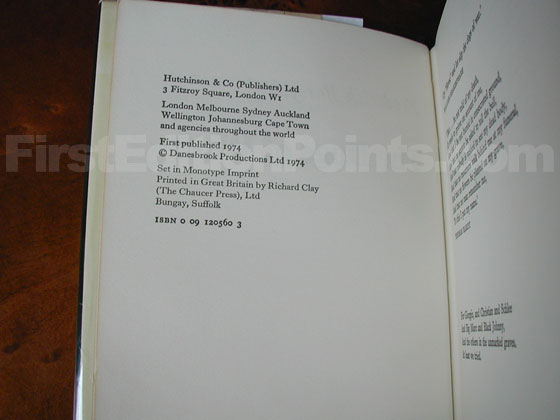 Picture of the first edition copyright page for The Dogs of War (UK).